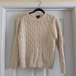 J crew cable knit cotton sweater